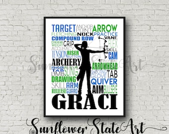 Personalized Archery Print Crossbow Bow and Arrow Typography Customized Print Gift for Her Him Archery Team Gift Archery Poster Hunting Gift