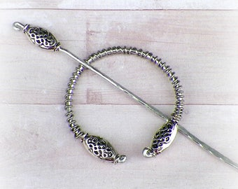 Celtic Shawl Pin Mimimalistic Brooch Penannular Silver Vintage Hammered Minimalist  Cloak Style Scarf Pin  Stick Pin
