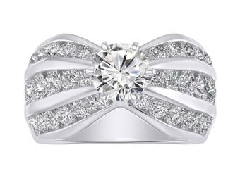 1.94 Ct Diamond Three Row Solitaire Engagement Belcher Style Wedding Ring In 14K White Gold