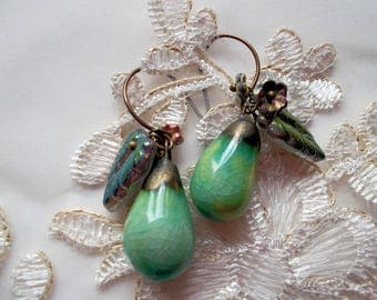 Earrings green glazed ceramic drops czech glass flowers glassleaves vintaj earhooks ethnic turqouoise glazed claydrops