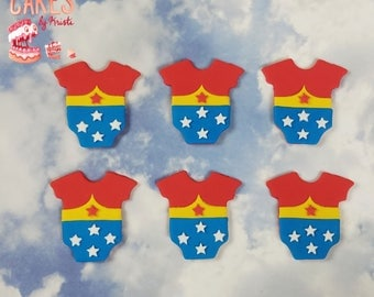 Wonder Woman Onesie Fondant Cupcake Toppers: Set of 6 (MADE TO ORDER)