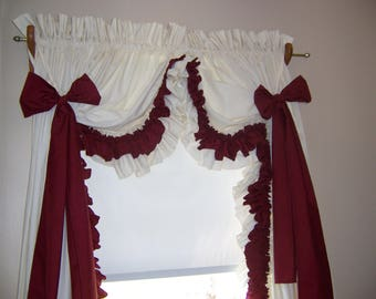 Red and white double ruffle curtains, custom curtains, white curtains, brown curtains