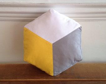 Cube Hexagon cushion, Geometric design pillow, Colour block, Yellow and grey cotton canvas, Handmade