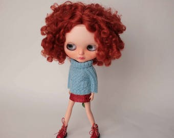 Blythe sweater, Blue Blythe pullover with pockets, Blythe doll knit clothes, Hand knitted doll outfit, Blue blythe sweater, Blythe clothing