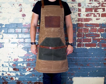 Brown Apron, Waxed Canvas and Leather Apron, Work Apron