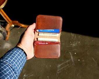 Minimal leather wallet , Card wallet , Card holder , Brown Dublin wallet , Brown Horween leather , Wallet