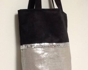 Large bag in linen and glitter/shopping bag XXL/gift for her / Tote black and silver / shopping bag, suede, linen and glitter silver/tote bag/handbag shoulder