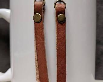 Leather Studded Bar Earrings