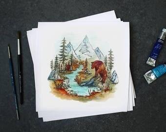 "Fine art print watercolor ""The Little Creek"""