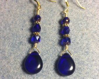 Cobalt blue Czech glass pear drop earrings adorned with cobalt blue Czech glass beads.