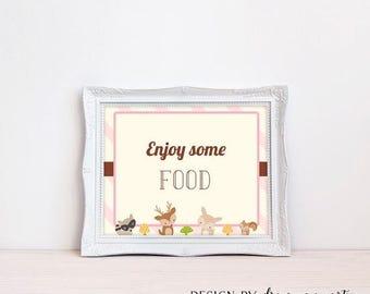 20% OFF Woodland Food Sign , Girl Baby Shower , Enjoy Some Food Sign , Food Table Sign , Printable , Instant Download