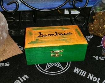 Rune Box, Hand Painted Wooden Samhain Rune Box, Jewelry Box, Orange and Green Rune Box, Crystal Keepsake, Witch Box, Samhain Box