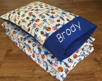 """Boy Nap Mat Cover & Personalized Toddler Pillow, Cotton, Sports/BLUE (Fits 5/8""""x19""""x45"""" or 1""""x19""""x45"""" or 2""""x19""""x44"""" Vinyl Mat)"""