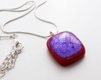 Dichroic glass pendant, red/pink/lavender blue dichroic glass.