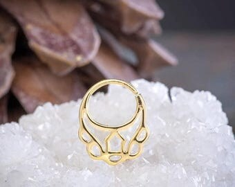 SALE Gold Septum Ring, Tribal Septum, 18K Gold Plated, Septum Piercing, Nose Ring, 18g Septum, Gold Septum Jewelry