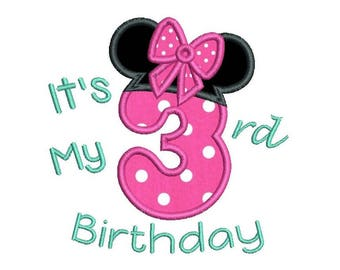 3rd Birthday Minnie Machine Embroidery Applique Design, Girl's Third Birthday, Number 3, Mouse Ears, 3 Sizes, Instant Download, No: SA510-58