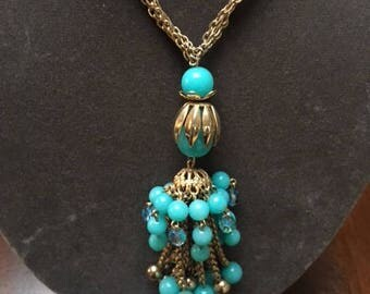 Vintage Beaded Necklace and matching Earring set plastic turquoise and blue crystal beads gold metal tassel detail