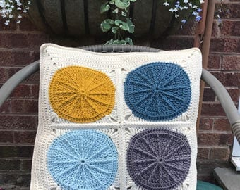 Crochet pillow/cushion cover/Sunny granny square crochet cushion cover