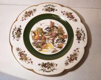 Ascot Service Plate by Wood and Sons England / Village Scene
