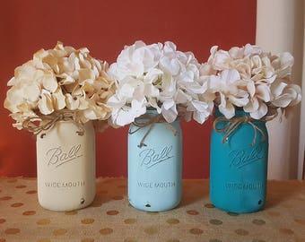 Distressed Mason Jars, Blue Mason Jars, Beige and Blue Mason Jars, Mason Jar Centerpieces, Mason Jar Vases, Beach Decor, Home Decor