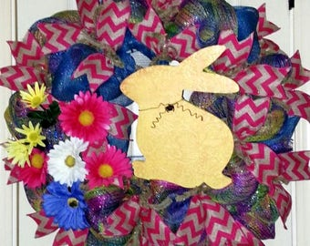 Easter wreath for door, Spring door wreath, Bunny wreath, Rustic Easter wreath, Bunny door hanger, Burlap Easter wreath, Easter Bunny wreath