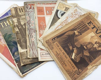 8 Etude Music Magazines Ranging from 1907 through 1928