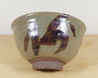 Japanese Tea Bowl Karatsu ware, Abstract Hand Painted, Karatsu Yaki Chawan Tea Ceremony Matcha Green Tea