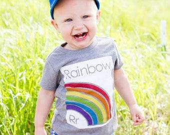 Rainbow T-Shirt - Kids Rainbow Shirt - St Patricks Day Outfit - Rainbow Baby Outfit - Boys Rainbow Shirt - Girls Rainbow Outfit