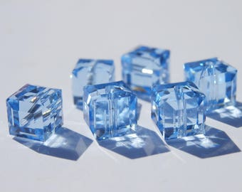 Swarovski 6 mm light Sapphire 8 cubes