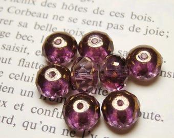 12 round beads Czech glass, 6x8mm Amethyst smoky finish gold-R812