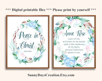 LDS Young Women Mutual Theme Gift 2018, Peace in Christ, D&C 19:23, Set of 2 Signs, LDS Youth Theme Gift, LDS Printable Gift, New beginnings