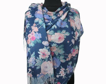 Blue Scarf, Floral Pashmina Scarf, Blue Boho Shawl, Floral Fashion Shawl, Mothers Day Gift, Floral Shawl, Light Scarf, Gifts for Women