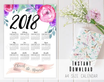 2018 Watercolor Floral Calendar Printable A4 - 2018 Year In A Glance Calendar - INSTANT DOWNLOAD