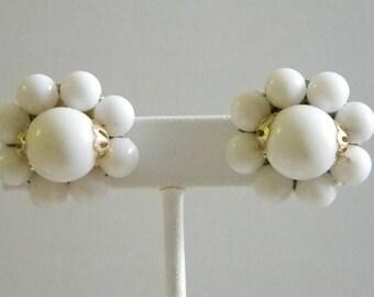 Vintage White Beaded Cluster Clip Earrings - Hong Kong