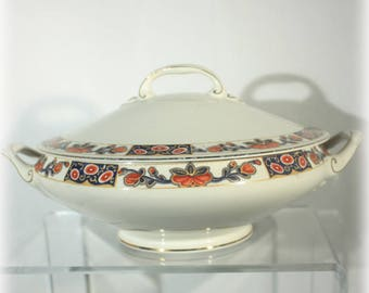 Johnson Bros Pareek Covered Dish, Johnson Brothers Serving Bowl, Blue, Orange, Tangerine Floral