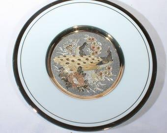 Vintage Art of Chokin Gilded Pheasant Small Plate