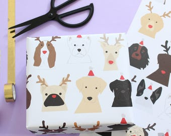 Christmas Dog wrapping paper, Santa and antlers