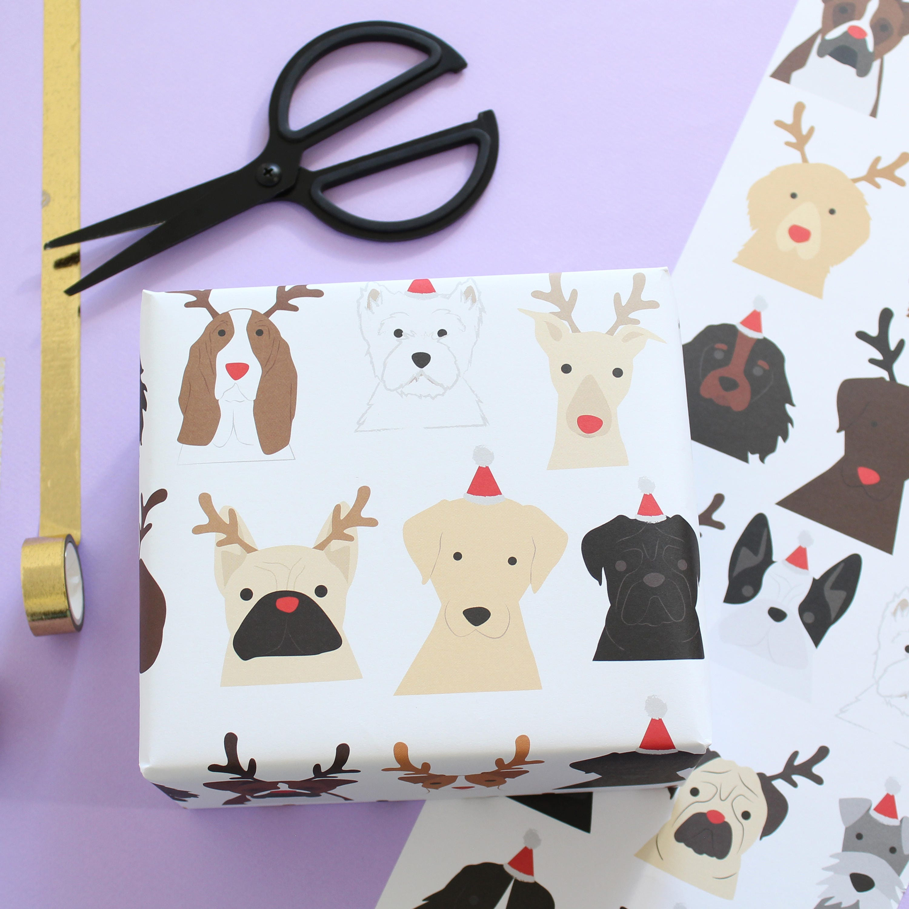 Christmas Dog Wrapping Paper Santa And Antlers