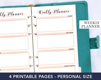 Personal planner weekly inserts - Week on two pages printable - Bride planner - Undated weekly planner - Personal agenda refill - Pages