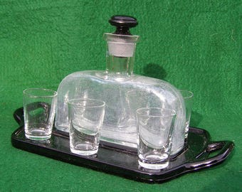 Art Deco Decanter Set with Black Glass Tray & Stopper