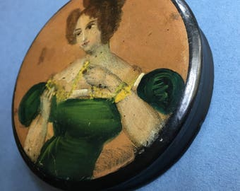 Antique Papier Mache Patch Box