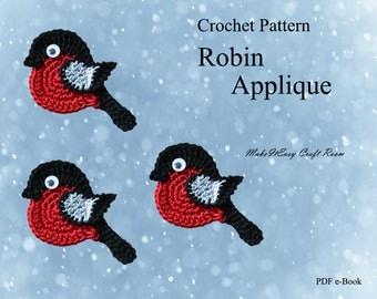 Robin applique crochet pattern Crochet robin brooch Christmas robin Crochet Bullfinch Robin crochet embellishment Digital download