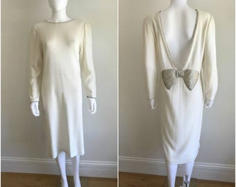 Vintage 80s Cream Knit Midi Sweater Dress Rhinestones + HUGE Beaded Back Bow M L