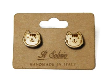 Earrings Wood kittens cat animals Pets