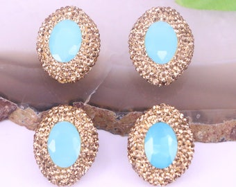 6PCS Natural faceted blue stone with golden rhinestone pave beads jewelry finding
