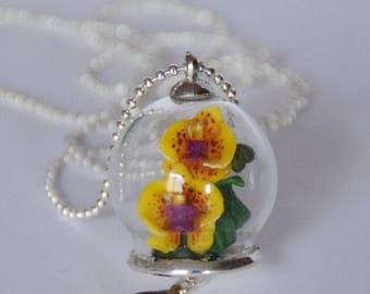 Necklace yellow orchids (small size)