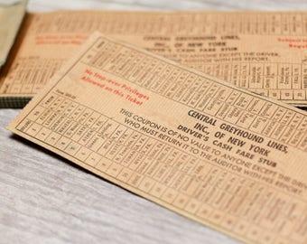 Vintage Greyhound Tickets Bus New York NY Transportation Paper Ephemera
