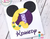 Rapunzel Shirt, Tangled Shirt, Rapunzel Personalized Mouse Head Shirt, Embroidered Mickey Mouse Head Tangled Shirt, Disney Family Shirts