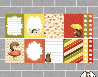 Autumn Hedgehog Full Box Planner Stickers