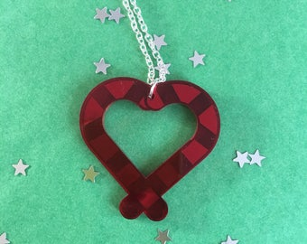 Candy Cane Heart Pendant Necklace